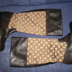Brown COACH CRISSI Signature/Leather Boots Sz 6B